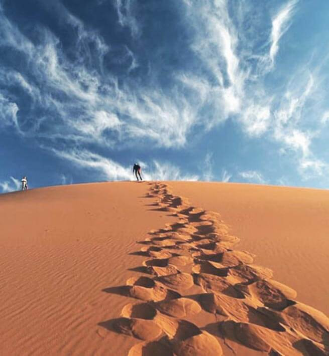 Pas dans le sable du désert déco