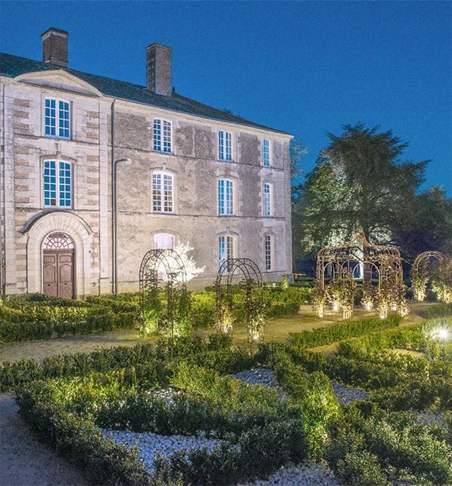 Jardins de nuit d'un château Ren