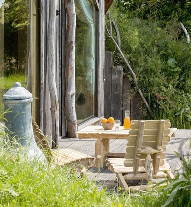 Terrasse écolodge Bretagne